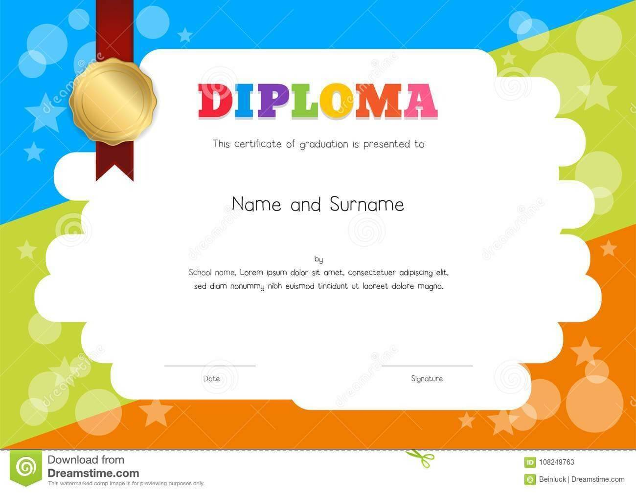 Kids Diploma Or Certificate Template With Hand Drawing For Children's Certificate Template