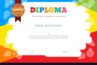 Kids Diploma Or Certificate Template With within Free Kids Certificate Templates