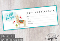 Kids Llama Gift Certificate, Thanksgiving Christmas Gift pertaining to Kids Gift Certificate Template