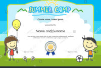 Kids Summer Camp Certificate Document Template Stock Vector intended for Summer Camp Certificate Template