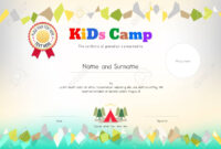 Kids Summer Camp Diploma Or Certificate Template Award Ribbon.. for Summer Camp Certificate Template