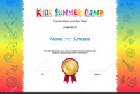 Kids Summer Camp Diploma Or Certificate Template Award Seal inside Fun Certificate Templates