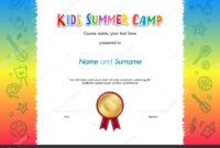 Kids Summer Camp Diploma Or Certificate Template Award Seal inside Fun Certificate Templates