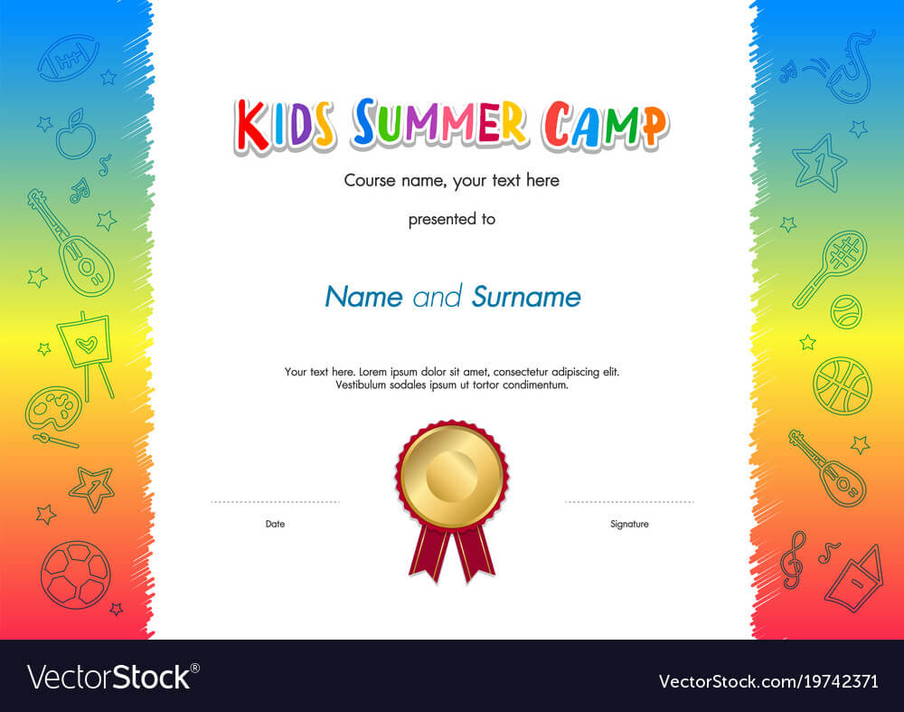Kids Summer Camp Diploma Or Certificate Template Pertaining To Summer Camp Certificate Template