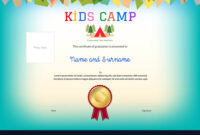 Kids Summer Camp Diploma Or Certificate Template regarding Summer Camp Certificate Template