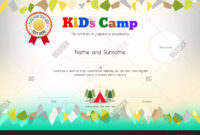 Kids Summer Camp Vector & Photo (Free Trial) | Bigstock regarding Summer Camp Certificate Template