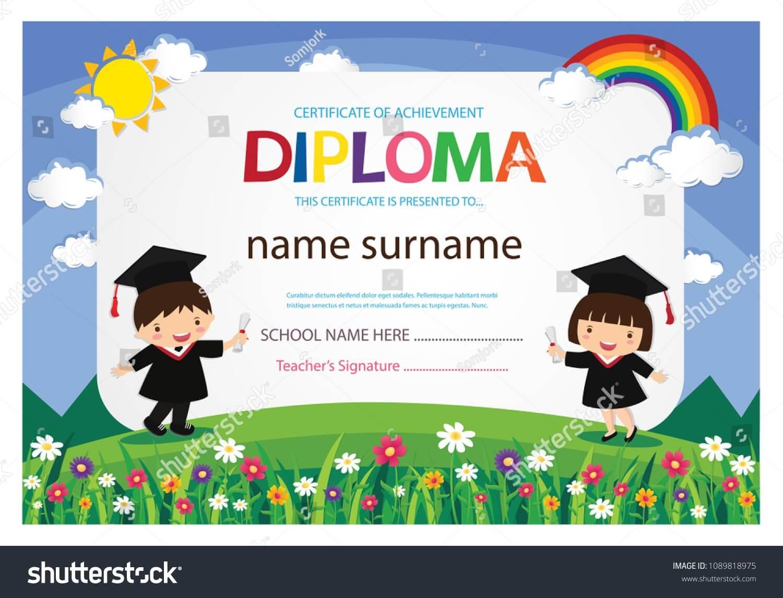 Kindergarten Graduation Certificates Background Design Inside Children's Certificate Template