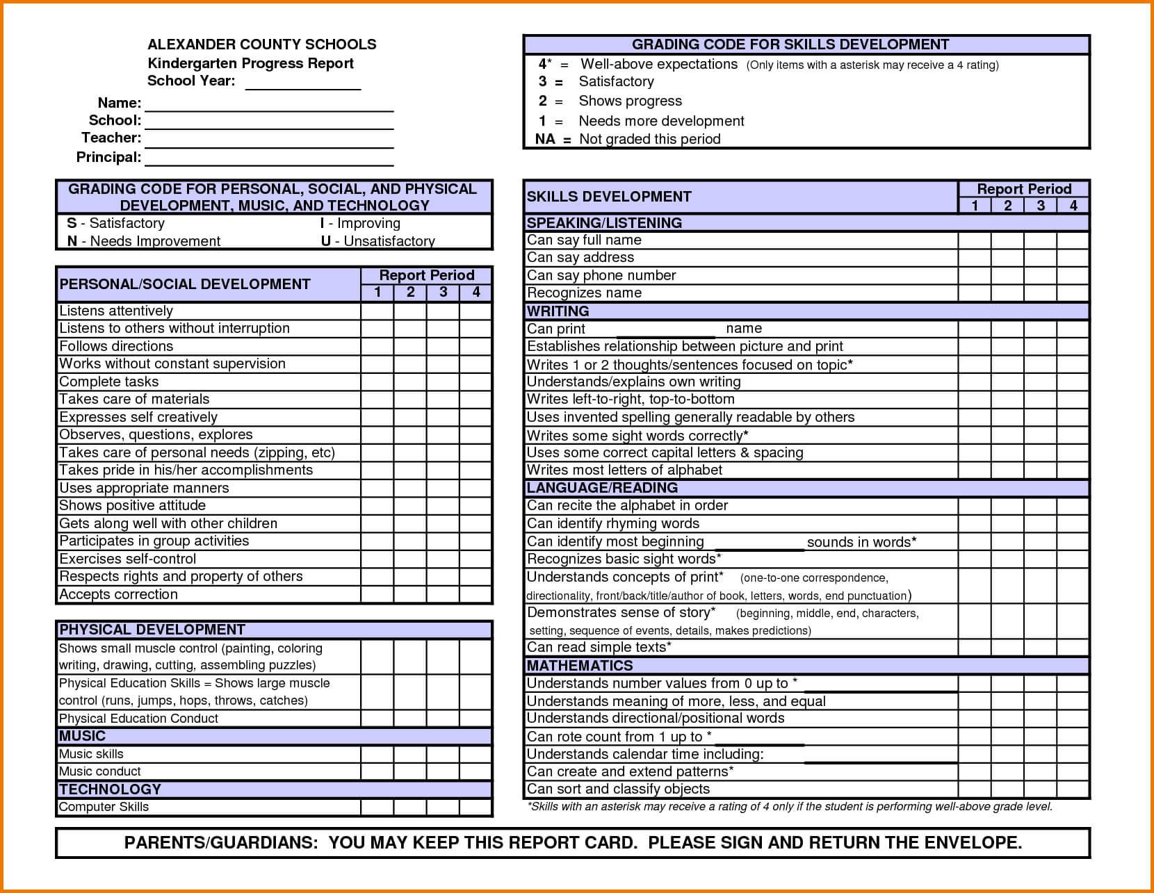 Kindergarten Report Card Template | Kindergarten Report Throughout Report Card Format Template