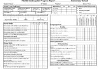 Kindergarten Social Skills Progress Report Blank Templates within Soccer Report Card Template