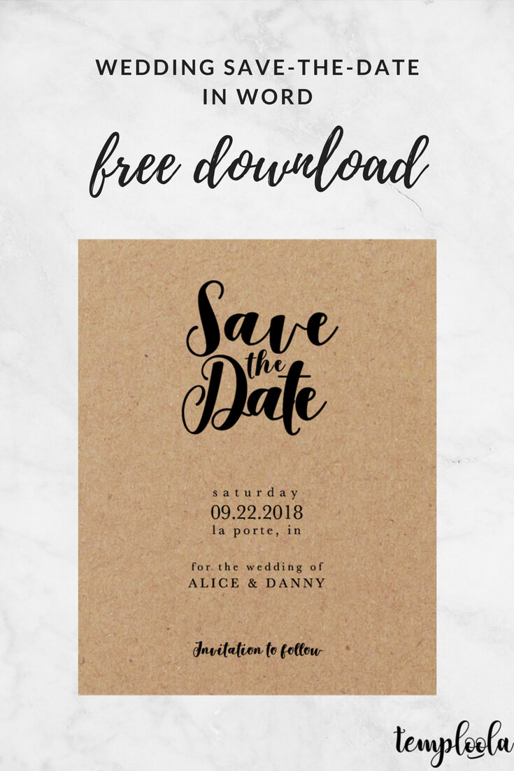 Kraft Black Wedding Save The Date Template | Save The Date With Regard To Save The Date Template Word