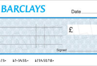 Large Blank Barclays Bank Cheque For Charity / Presentation with Large Blank Cheque Template