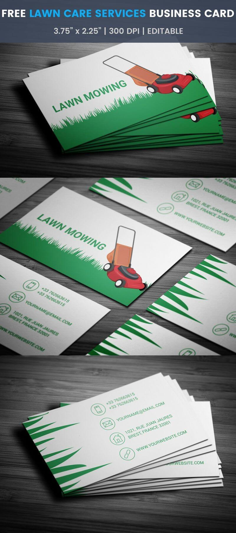Lawn Care Services Business Card - Full Preview | Free Throughout Lawn Care Business Cards Templates Free