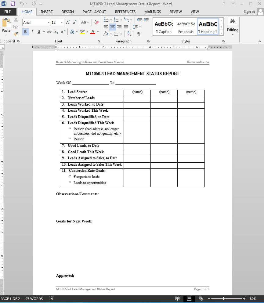Lead Management Status Report Template | Mt1050 3 For Sales Lead Report Template