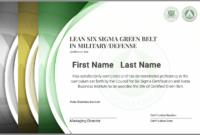 Lean Six Sigma Green Belt Certification In Military/defense in Green Belt Certificate Template