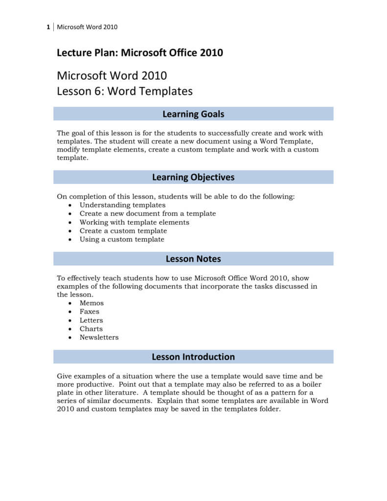 Lesson 6: Word Templates Intended For How To Use Templates In Word 2010