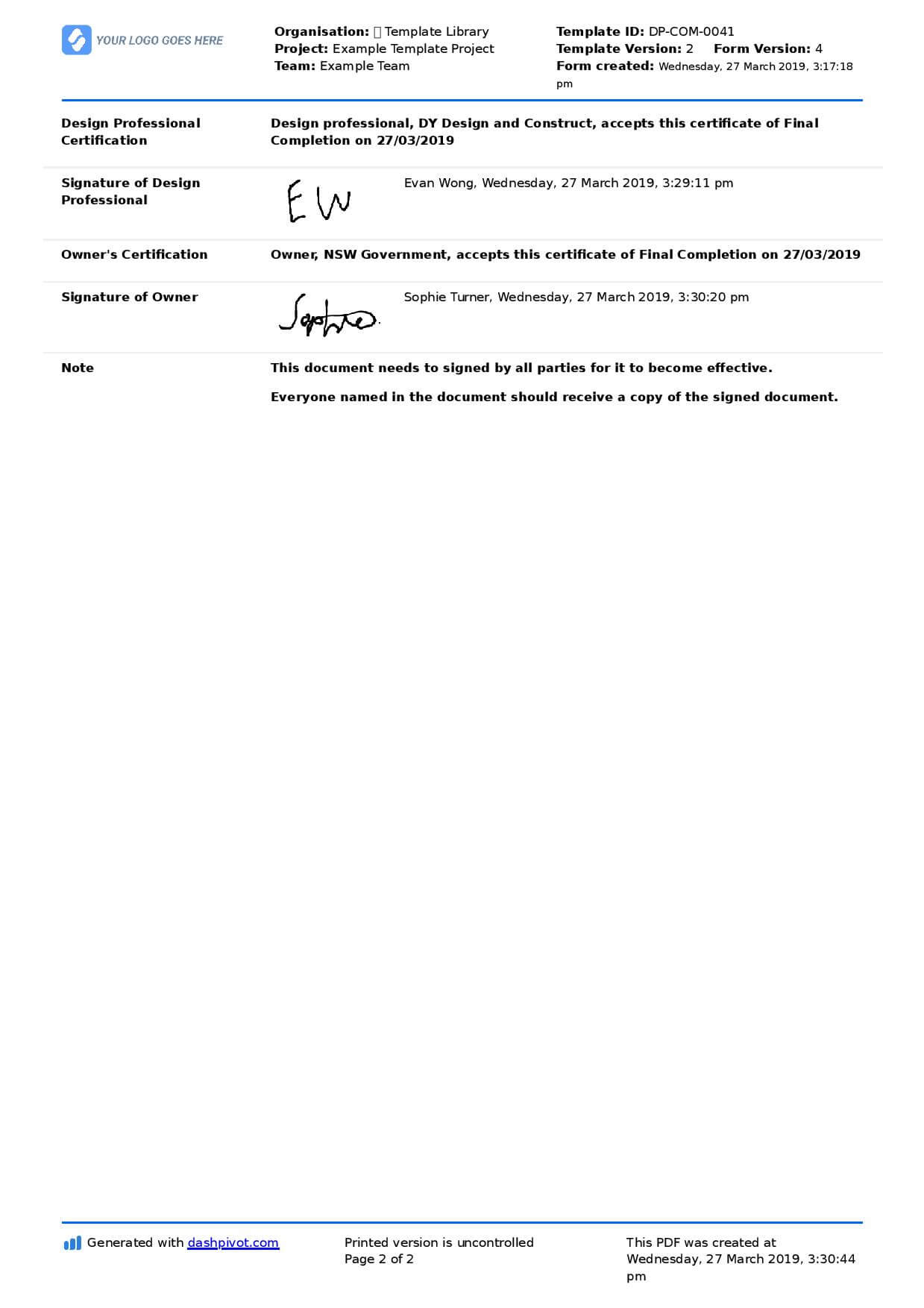 Letter Of Completion Of Work Sample (Use Or Copy For Yourself) Throughout Practical Completion Certificate Template Uk