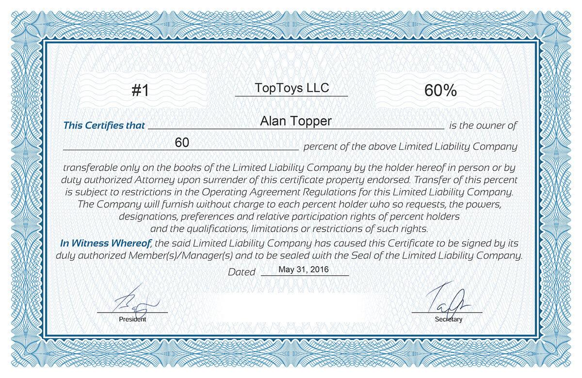 Llc Member Certificate Template - Ironi.celikdemirsan Regarding New Member Certificate Template