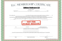 Llc Member Certificate Template – Ironi.celikdemirsan throughout New Member Certificate Template