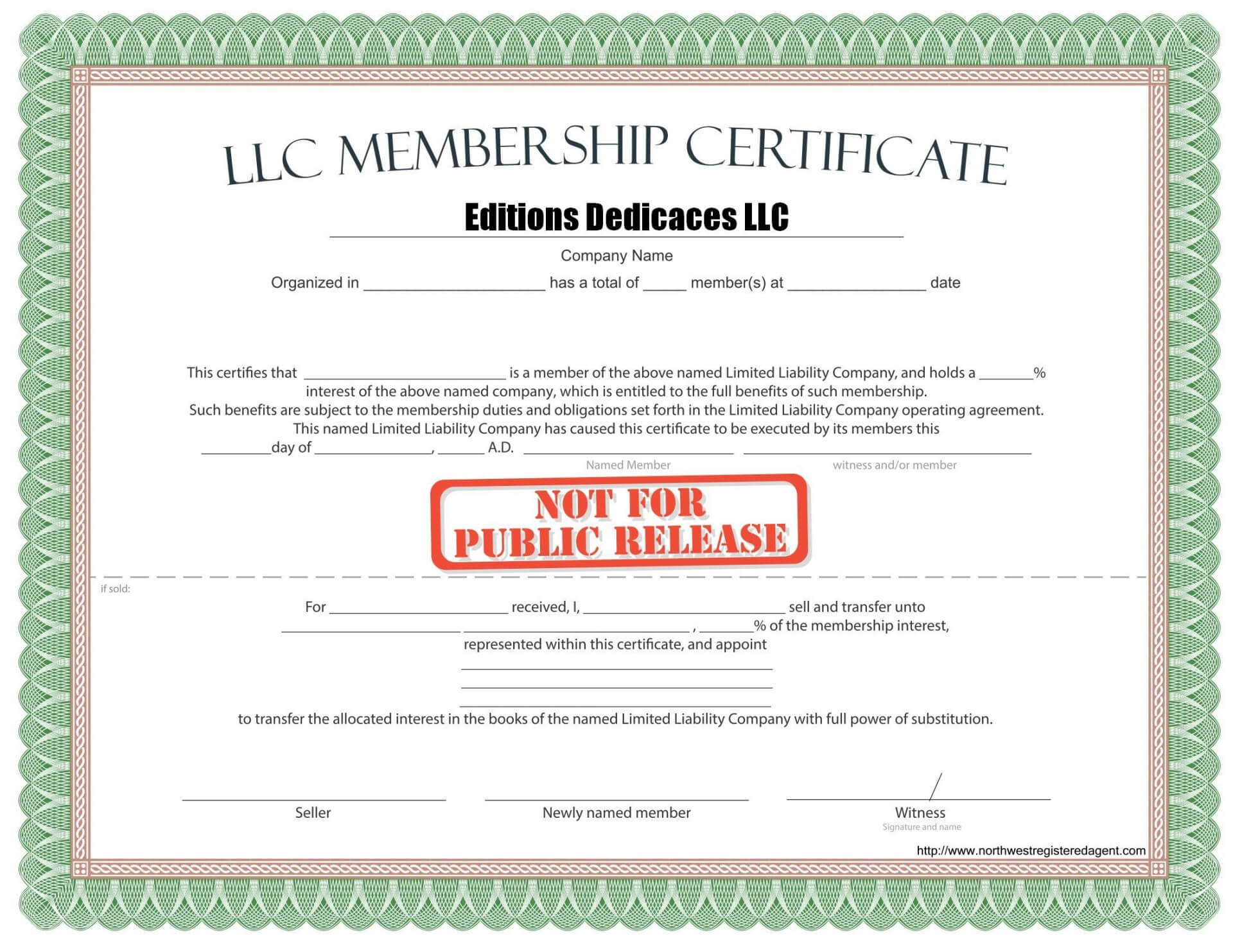 Llc Member Certificate Template - Ironi.celikdemirsan Throughout New Member Certificate Template