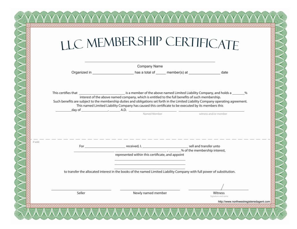 Llc Membership Certificate - Free Template Pertaining To Llc Membership Certificate Template