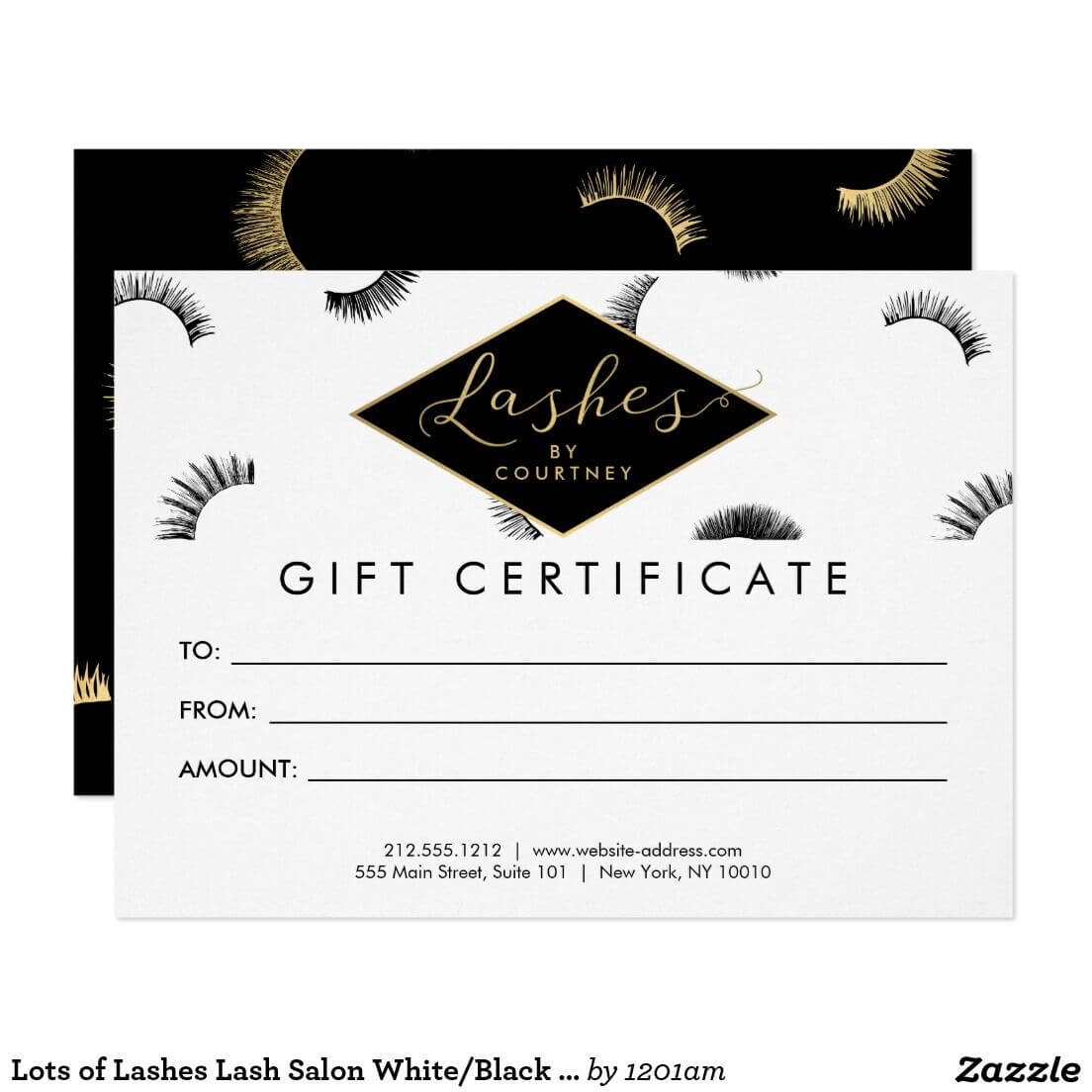 Lots Of Lashes Lash Salon White/black Gift Card | Zazzle Pertaining To Custom Gift Certificate Template