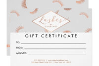 Lots Of Lashes Pattern Gray/rose Gold Gift Card | Zazzle Inside Nail Gift Certificate Template Free