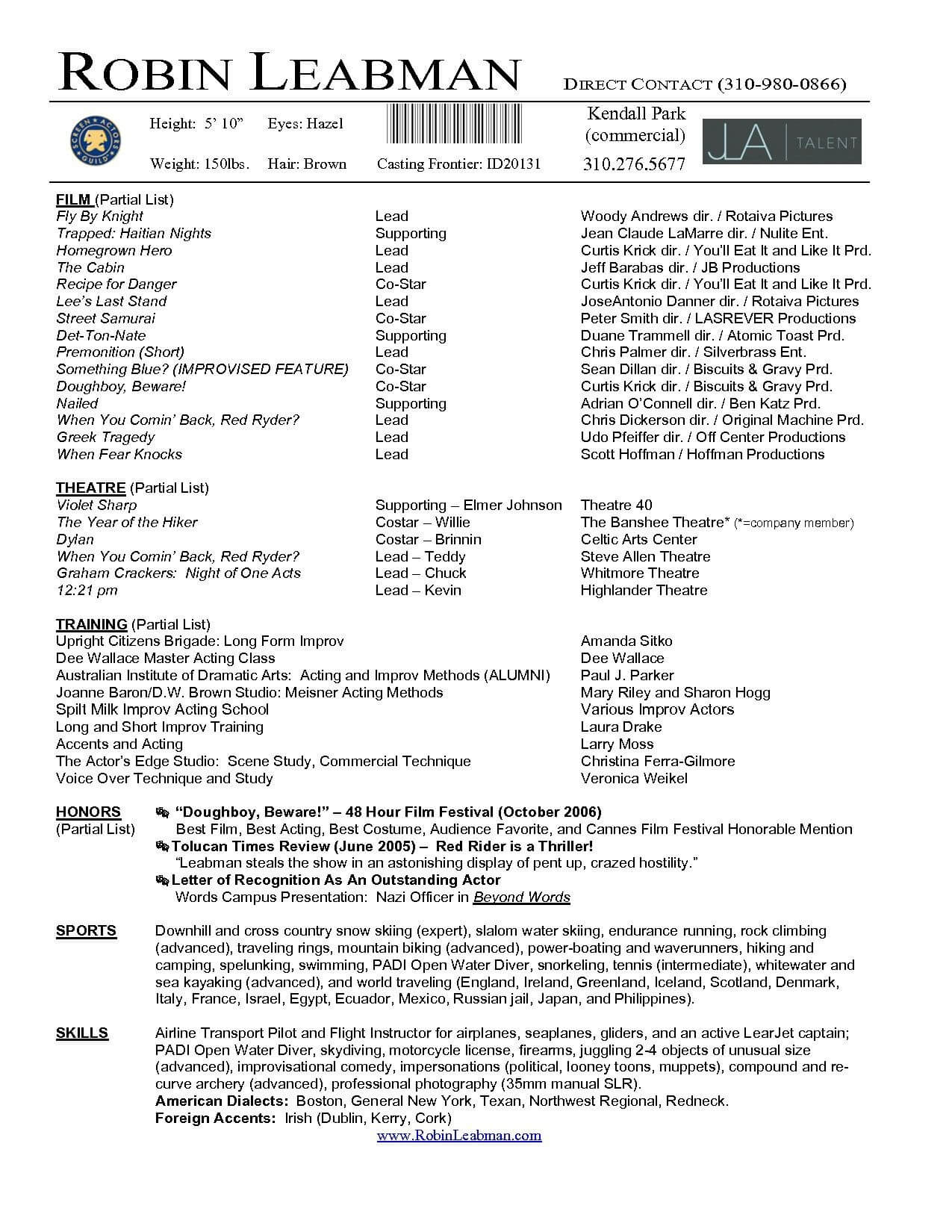 Lovely Acting Resume Template For Microsoft Word – Superkepo Pertaining To Theatrical Resume Template Word