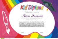 Lovely Kid Diploma – Certificate Stock Vector – Illustration with Children's Certificate Template