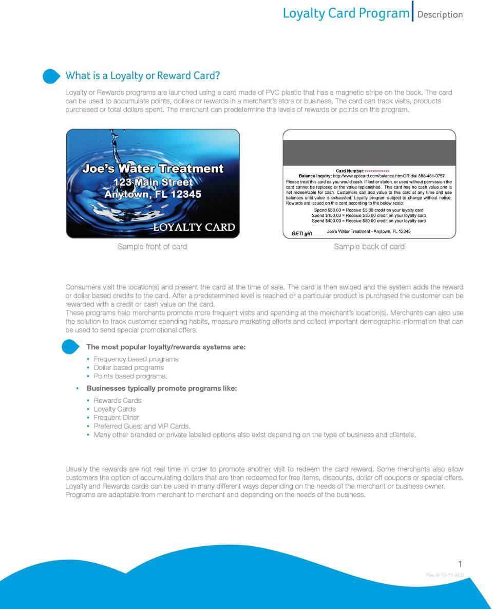 Loyalty Card Program Description - Pdf Free Download Pertaining To Frequent Diner Card Template