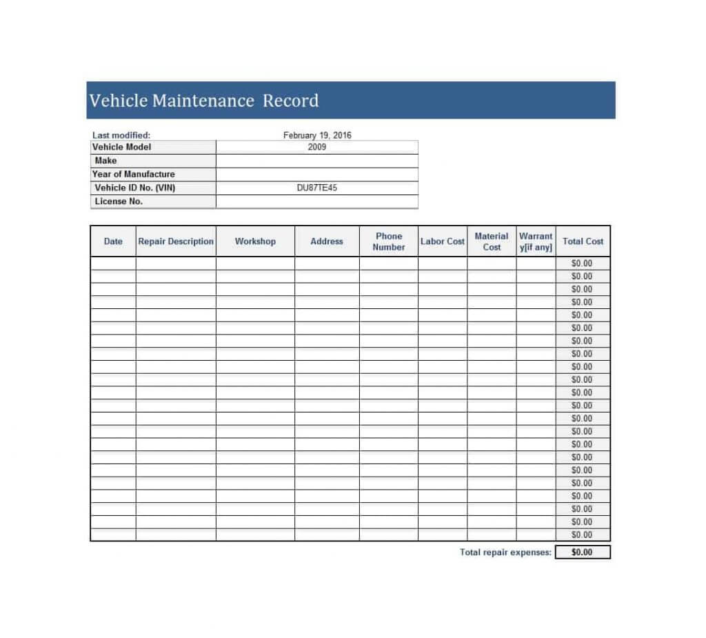 maintenance spreadsheet template repair job card microsoft