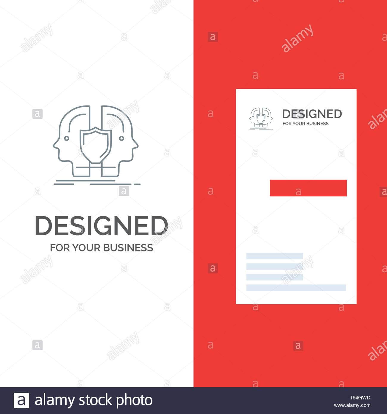 Man, Face, Dual, Identity, Shield Grey Logo Design And Throughout Shield Id Card Template