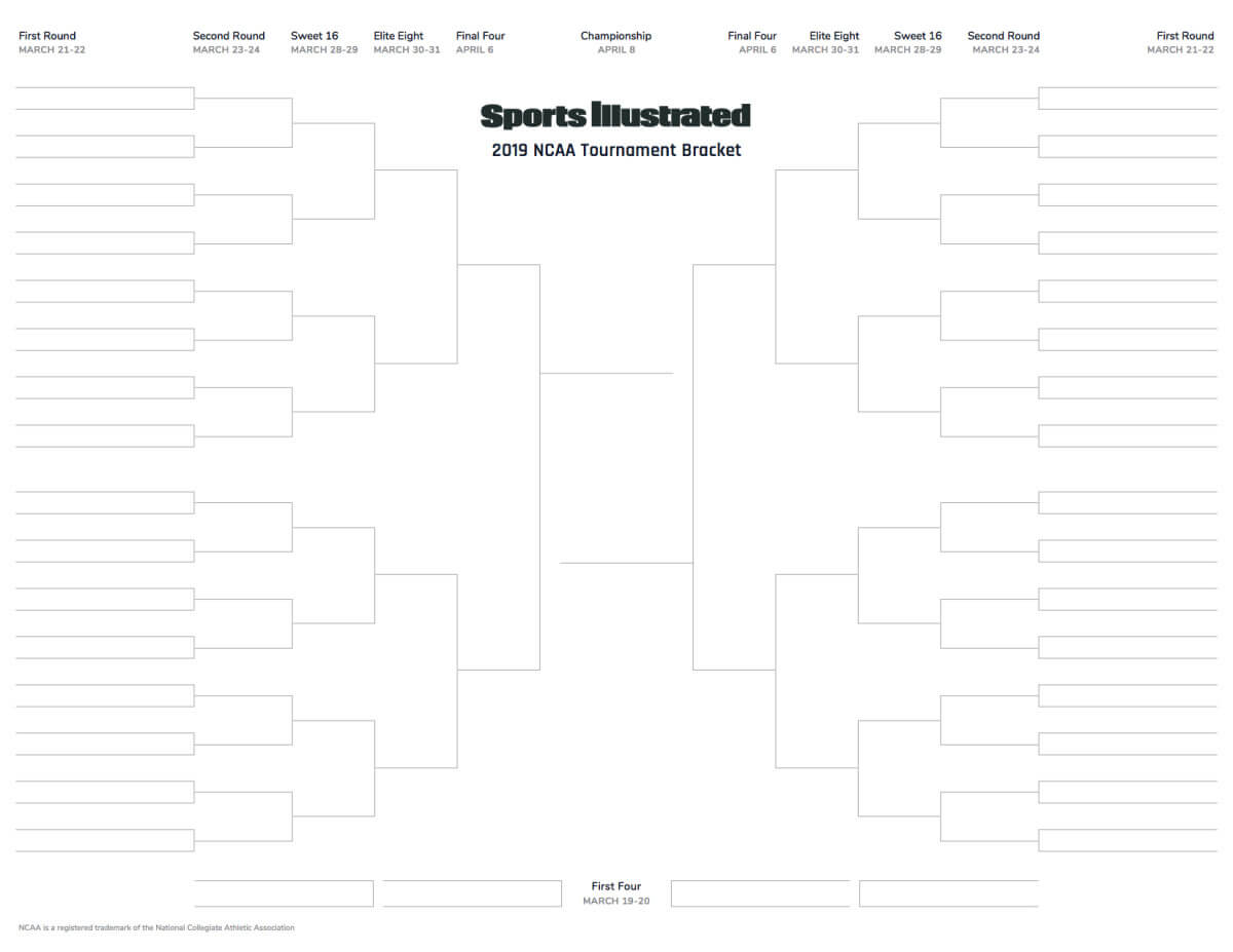 March Madness 2019 Printable Blank Bracket For Ncaa With Regard To Blank Ncaa Bracket Template