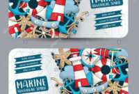Marine Nautical Travel Concept. Horizontal Banner Template Pertaining To Nautical Banner Template