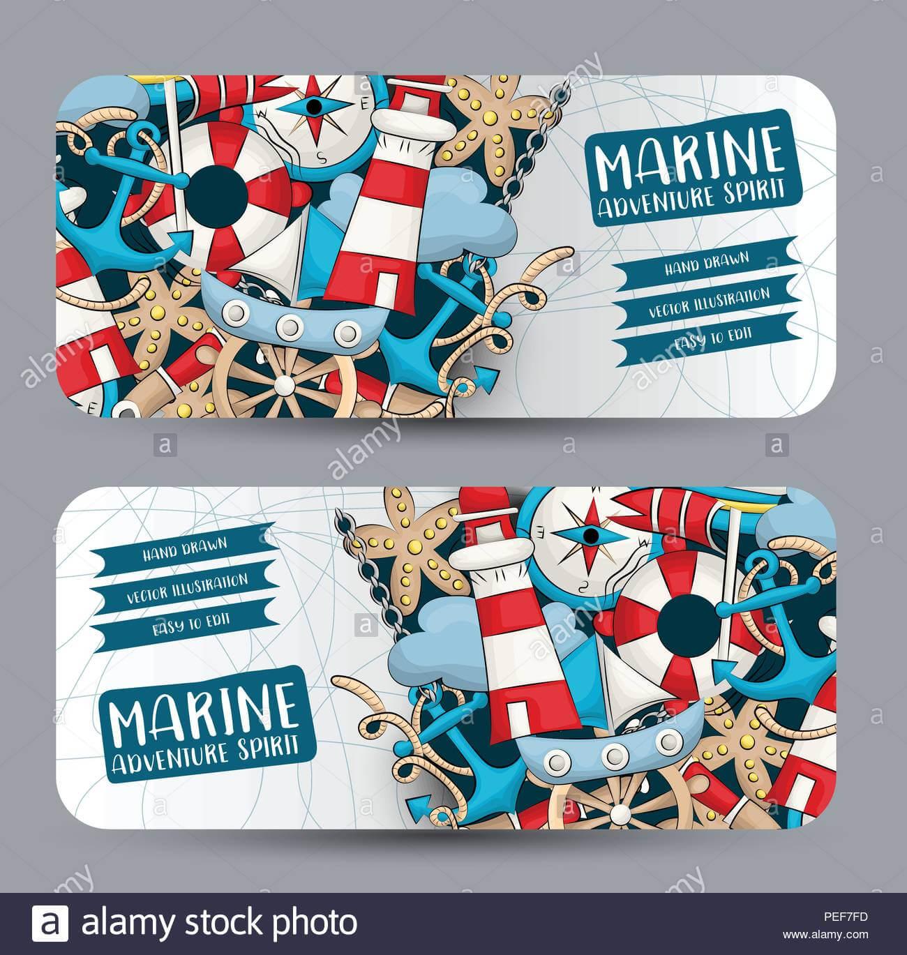 Marine Nautical Travel Concept. Horizontal Banner Template Pertaining To Nautical Banner Template