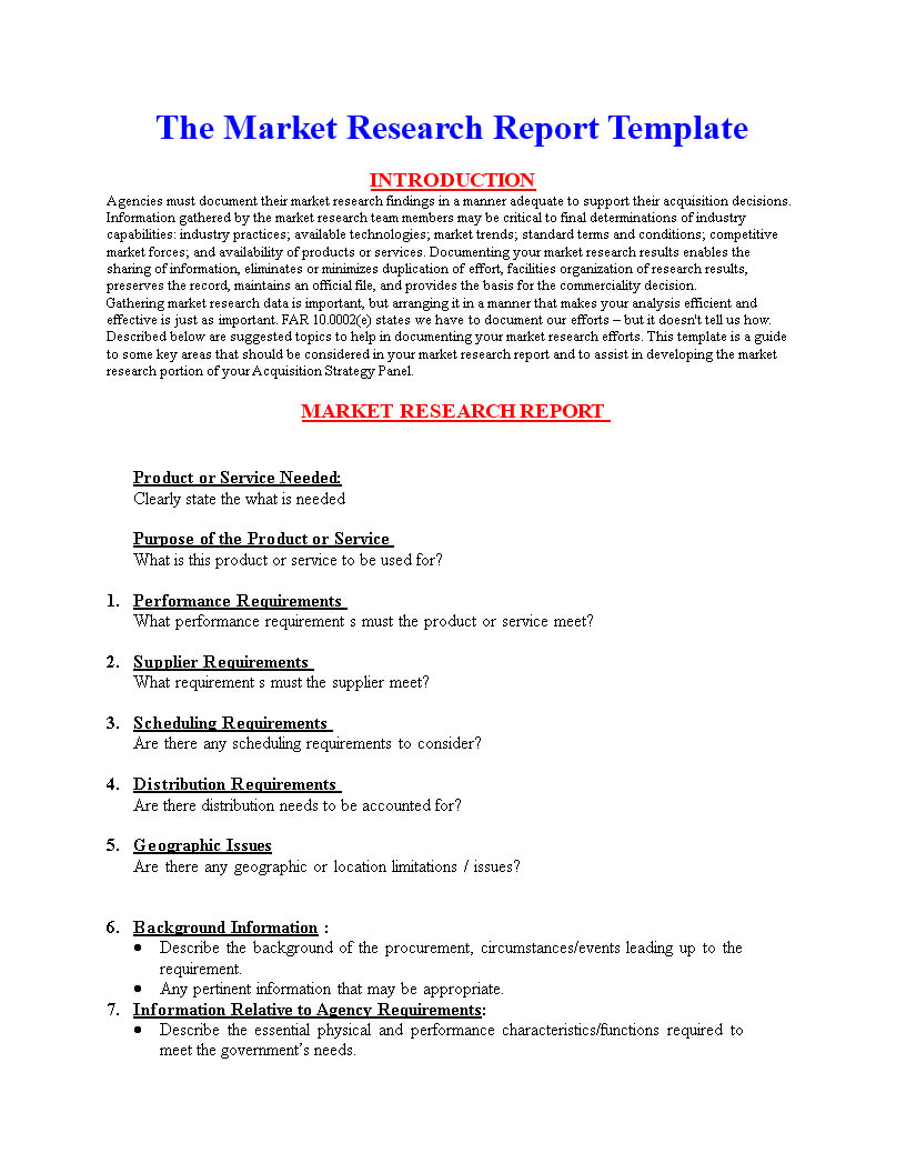 Market Research Report Format | Templates At Within Market Research Report Template