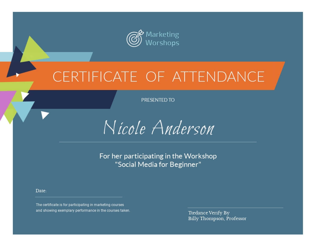 Marketing Workshop - Certificate Template - Visme Pertaining To Workshop Certificate Template
