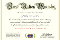 Marriage Officiant And Wedding Ceremony Minister Ordination intended for Ordination Certificate Template