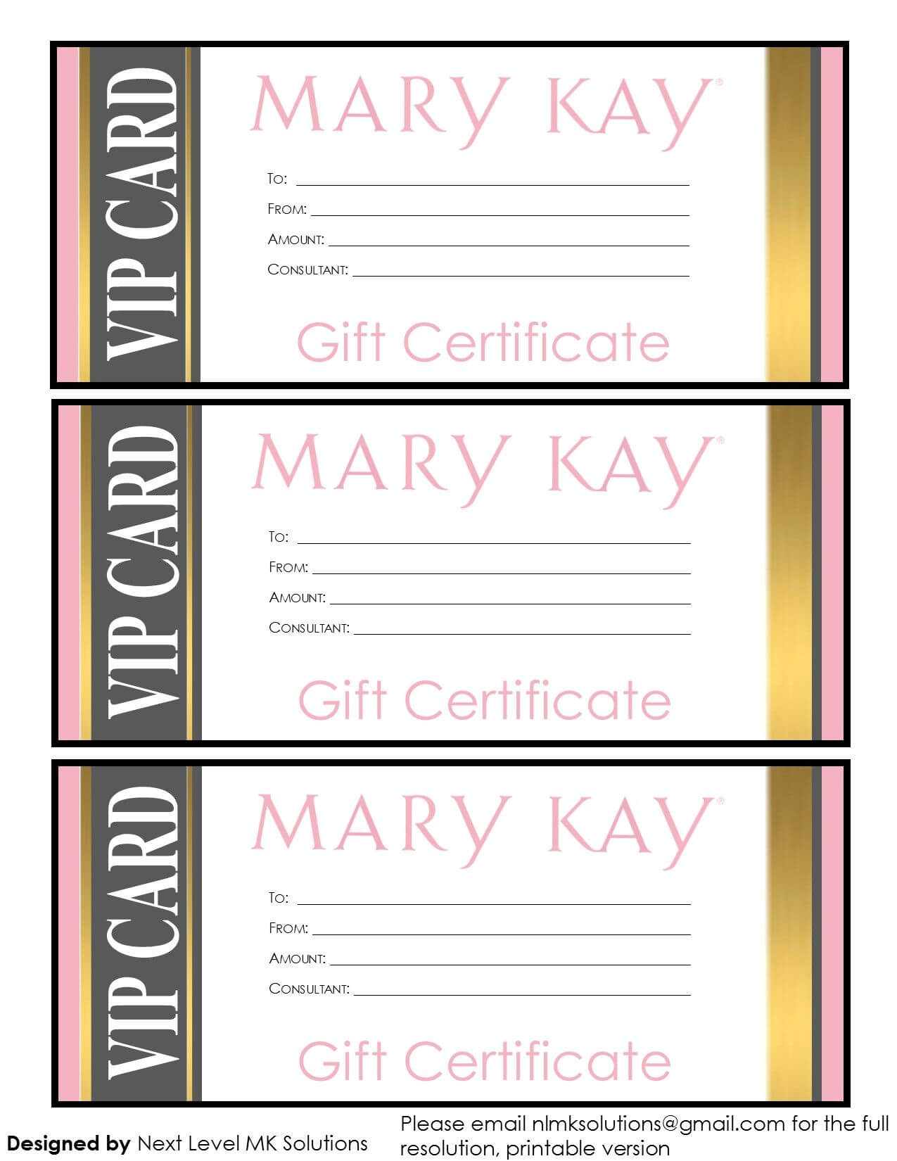 Mary Kay Gift Certificates - Please Email For The Full Pdf Regarding Mary Kay Gift Certificate Template