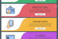Mass Media Web Banner Templates Set. Video Camera, Press Id with regard to Media Id Card Templates