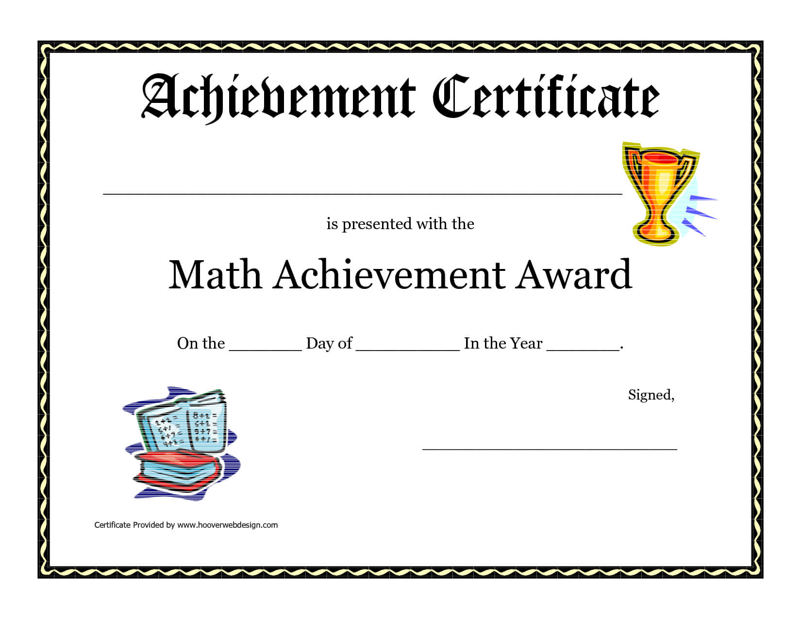 Math Achievement Award Printable Certificate Pdf | Award Throughout Classroom Certificates Templates