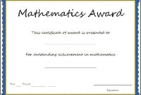 Mathematics Award Certificate Template – Sample Templates throughout Math Certificate Template