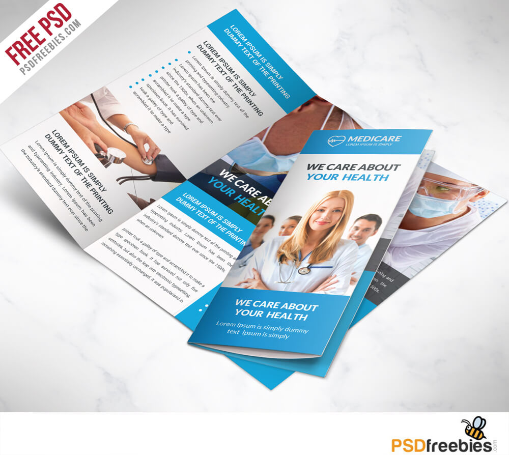 Medical Care And Hospital Trifold Brochure Template Free Psd Throughout Healthcare Brochure Templates Free Download