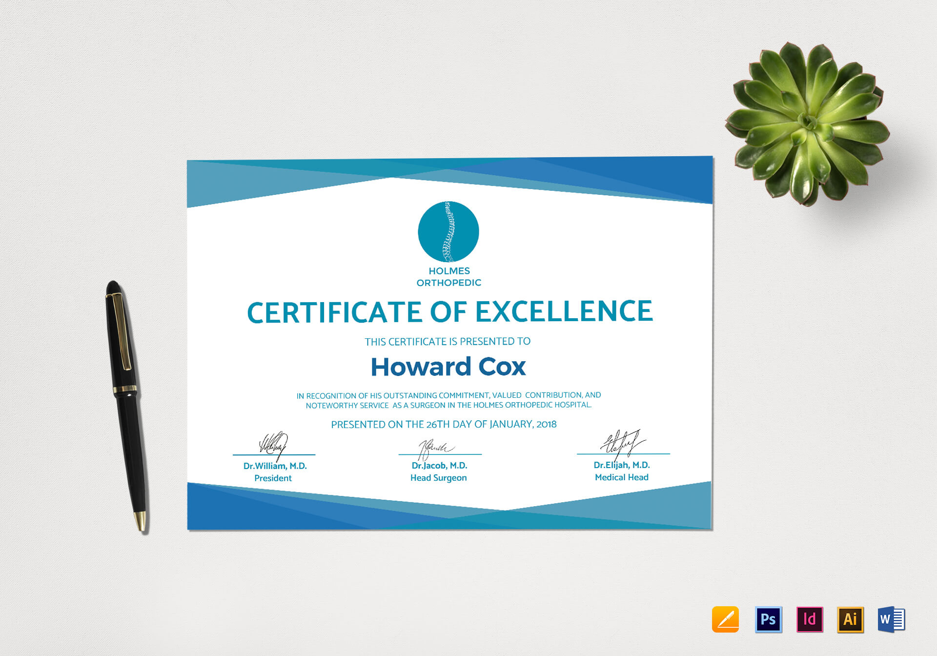 Medical Excellence Certificate Template Intended For Indesign Certificate Template