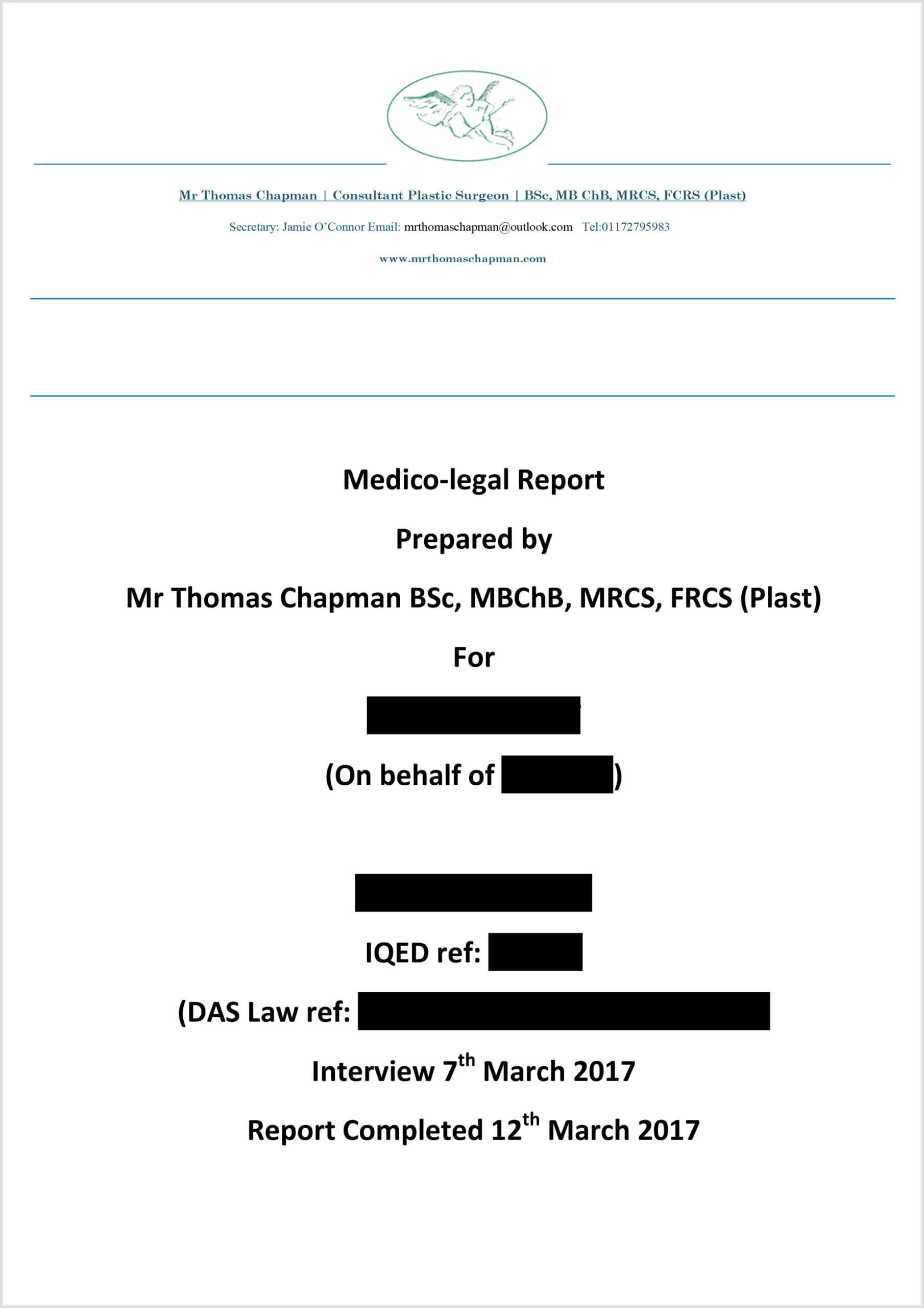 Medicolegal Reporting – Mr Thomas Chapman Throughout Expert Witness Report Template