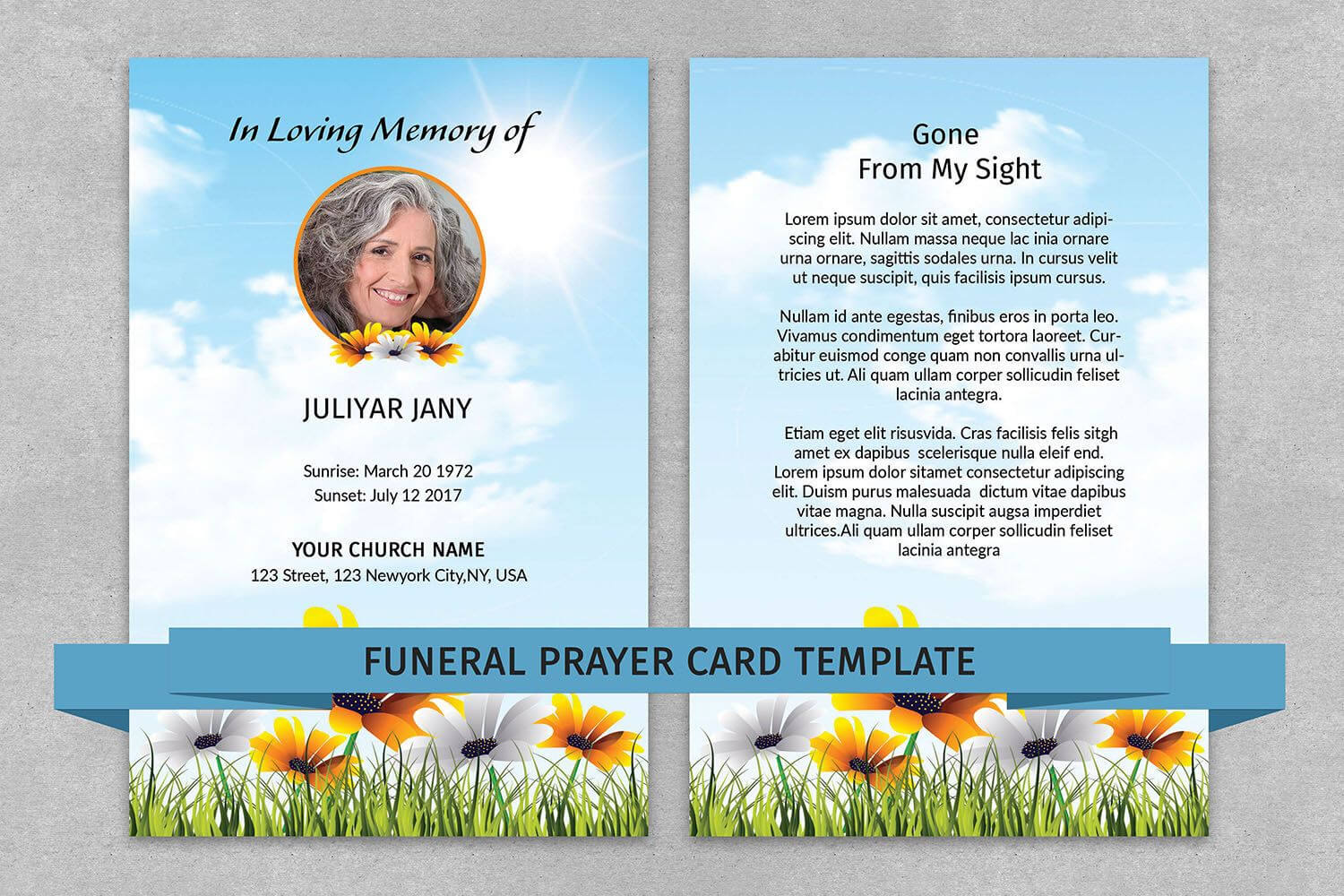 Memorial Prayer Card Template | Funeral Prayer Card For Prayer Card Template For Word