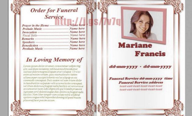 Memorial Service Program Template Download … | Funeral pertaining to Memorial Brochure Template