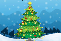 Merry Christmas Card Template With Christmas Tree with Adobe Illustrator Christmas Card Template
