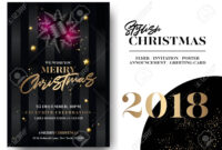 Merry Christmas Greeting Card Template. Vector Elegant Black.. for Table Reservation Card Template