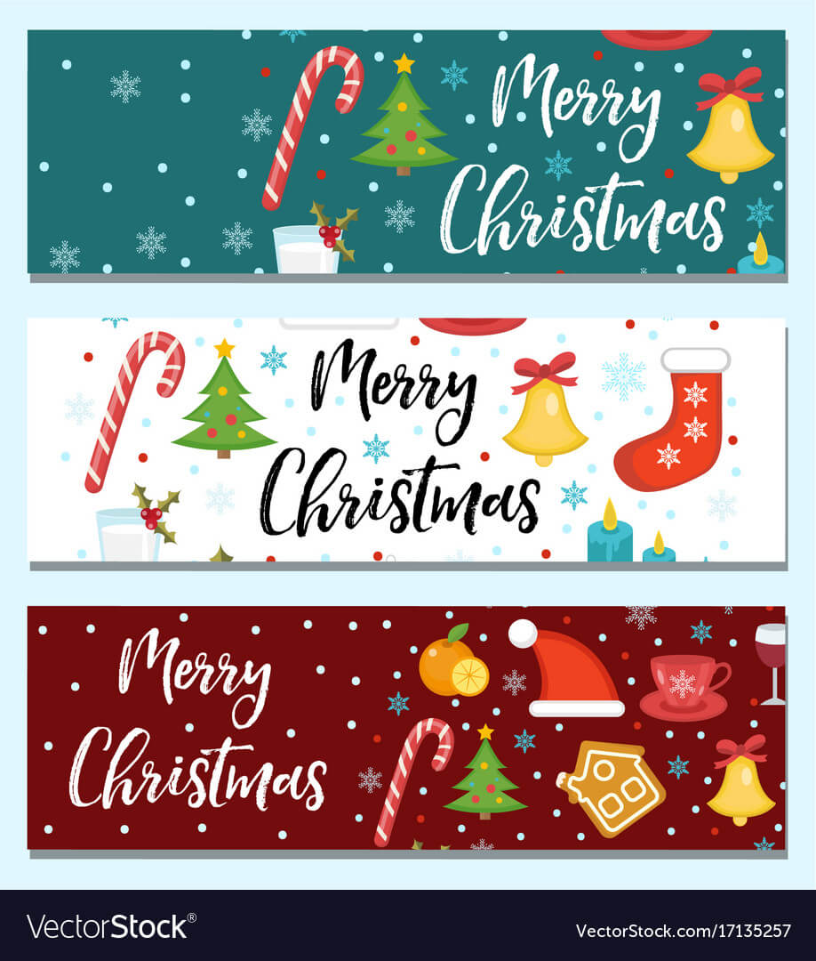 Merry Christmas Set Of Banners Template With Inside Merry Christmas Banner Template
