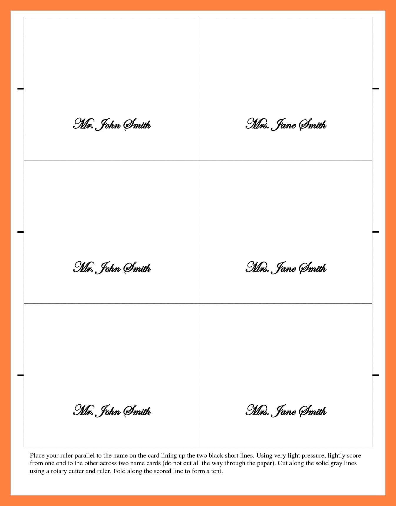 Microsoft Word Place Card Template 6 Per Sheet – Cards With Place Card Template 6 Per Sheet
